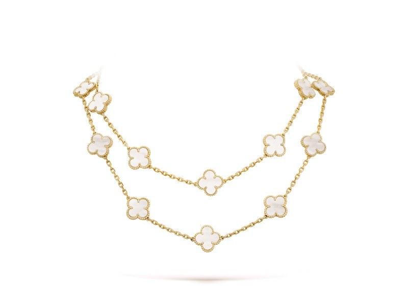 Van Cleef & Arpels Alhambra Yellow Gold Mother-of-pearl 20 Motif Necklace
