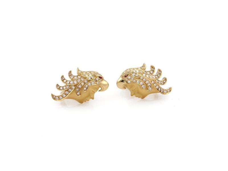 Carrera y Carrera 18K Yellow Gold with Diamond & Ruby Eagle Headdress Woman Screw Back Earrings