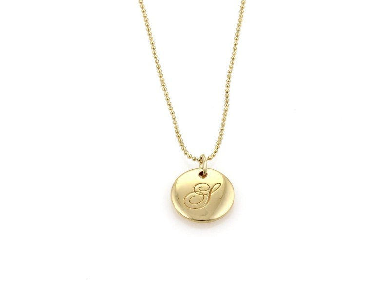 """Tiffany & Co. Notes 18K Yellow Gold Initial """"S"""" Round Pendant Bead Necklace"""