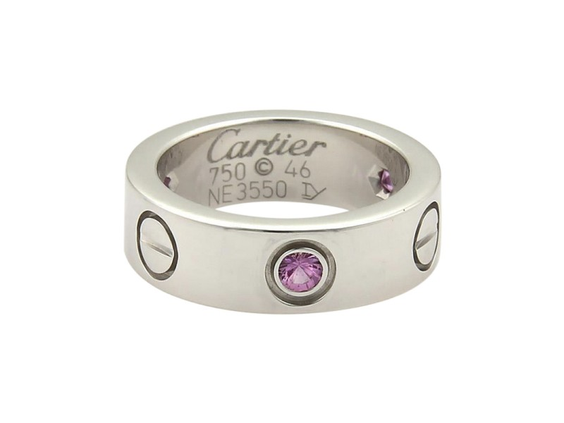 Cartier Love 3 Pink Sapphire 18K White Gold Band Ring Size 3.5