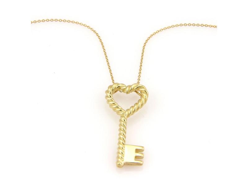 Tiffany co italy 18k yellow gold cable heart key pendant necklace italy 18k yellow gold cable heart key pendant necklace aloadofball Image collections