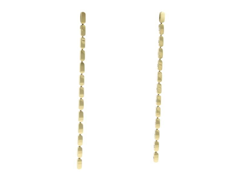 Louis Vuitton 18K Yellow Gold Bar Links Long Drop Dangle Earrings