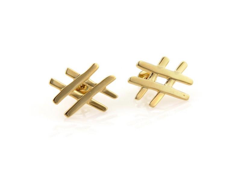 fec8a7a78 Tiffany & Co. Paloma Picasso 18K Yellow Gold Tic Tac Toe Stud Earrings