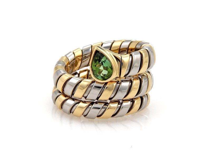 Bulgari Tubogas 18K Yellow Gold and Stainless Steel with 1.00ct Green Tourmaline Wrap Band Ring