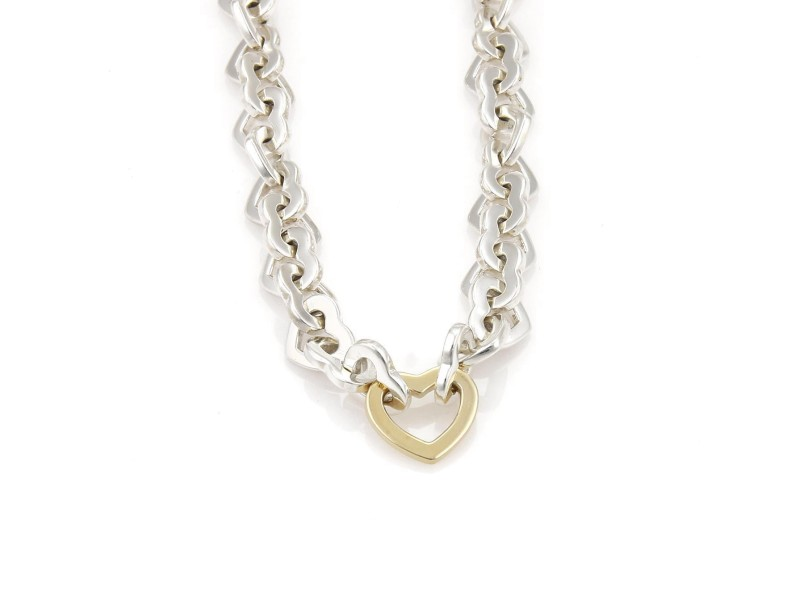 Tiffany & Co. Sterling Silver and 18K Yellow Gold Heart Link Necklace