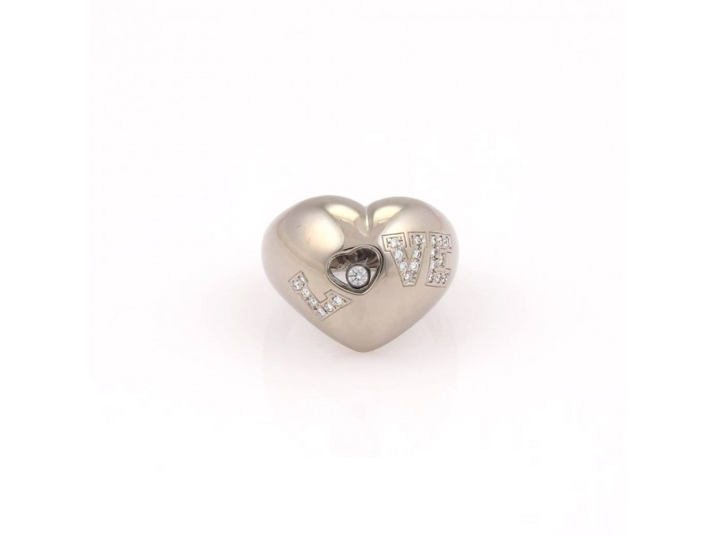 Chopard Happy Diamonds 18K White Gold with 0.21ct Diamond LOVE Heart Ring Size 6.5