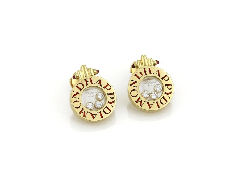 Chopard Happy Diamond 18K Yellow Gold and Enamel with 0.30ct Diamond and Pink Tourmaline Stud Earrings