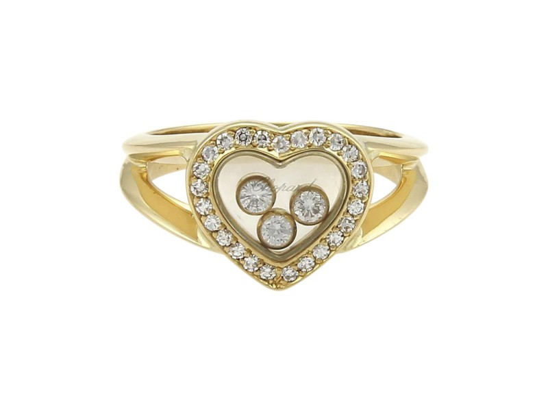 Chopard Happy Diamond 18K Yellow Gold with 0.47ct Diamond Heart Ring Size 5