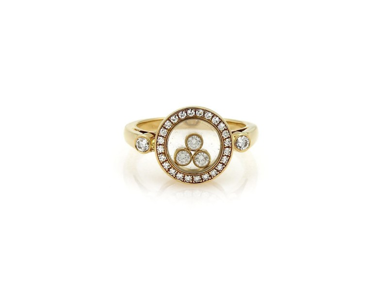 Chopard Happy Diamond 18K Yellow Gold with 0.39ct Diamond Ring Size 4.5