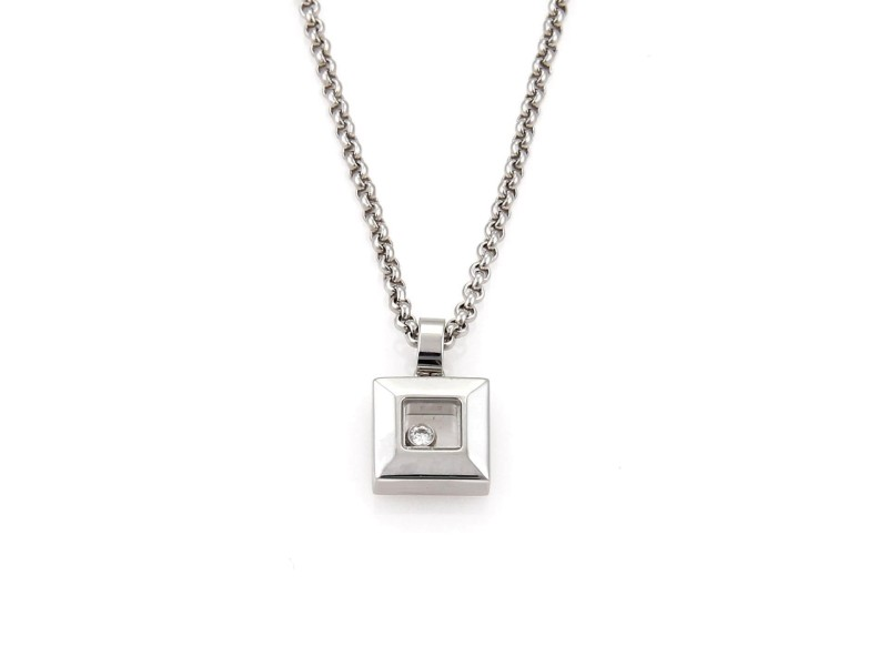 Chopard Happy Diamond 18K White Gold With 0.05ct Diamond Square Pendant & Chain Necklace