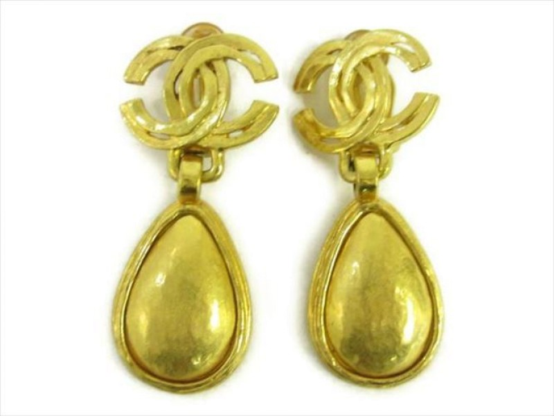 Chanel Vintage Gold Tone Hardware Coco Mark Earrings