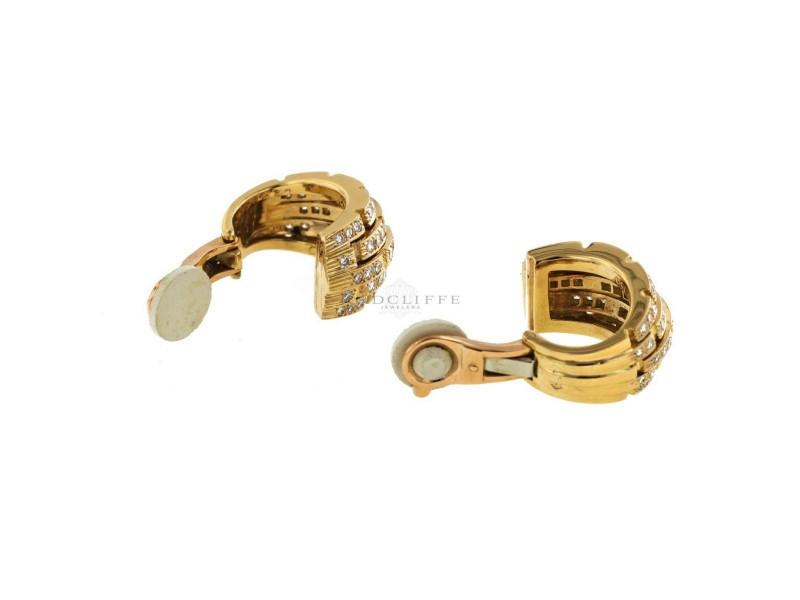Cartier Panthere Yellow Gold, Sterling Silver Diamond Womens Earrings