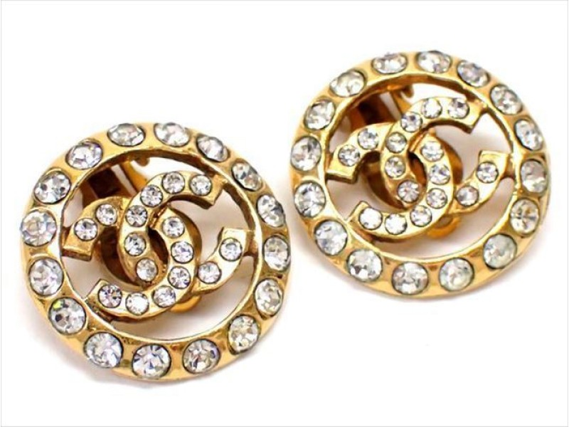 Chanel Gold Tone Hardware with Rhinestone Coco Mark Earrings