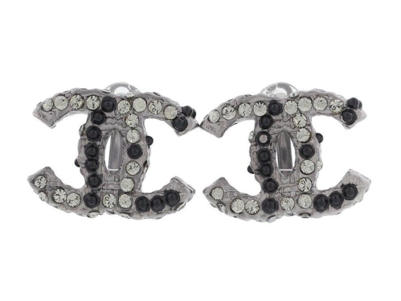 Chanel Black Gunmetal with Rhinestone Coco Mark Earrings