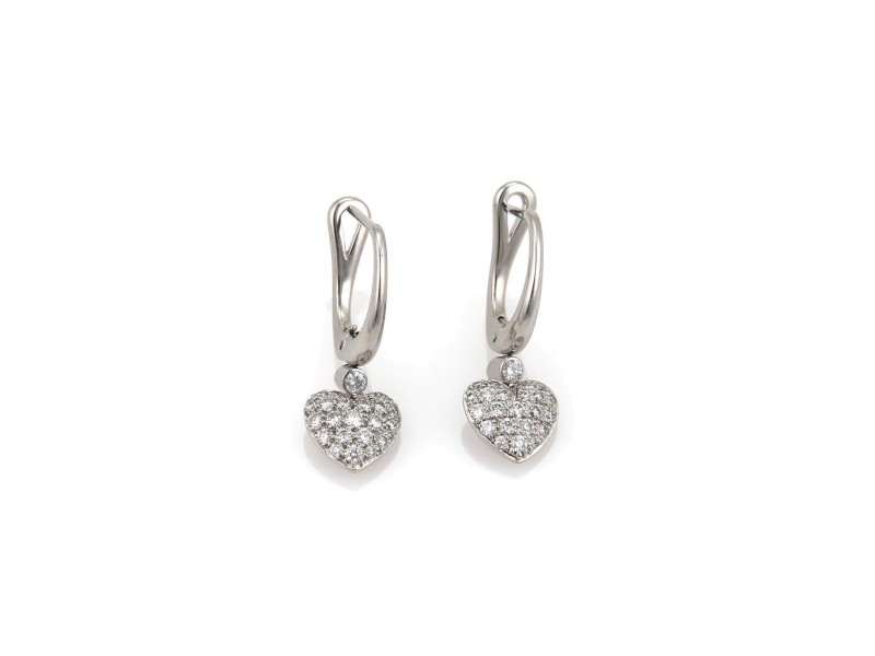 Tiffany & Co. 950 Platinum with 0.56ctw. Diamond Drop Dangle Heart Earrings