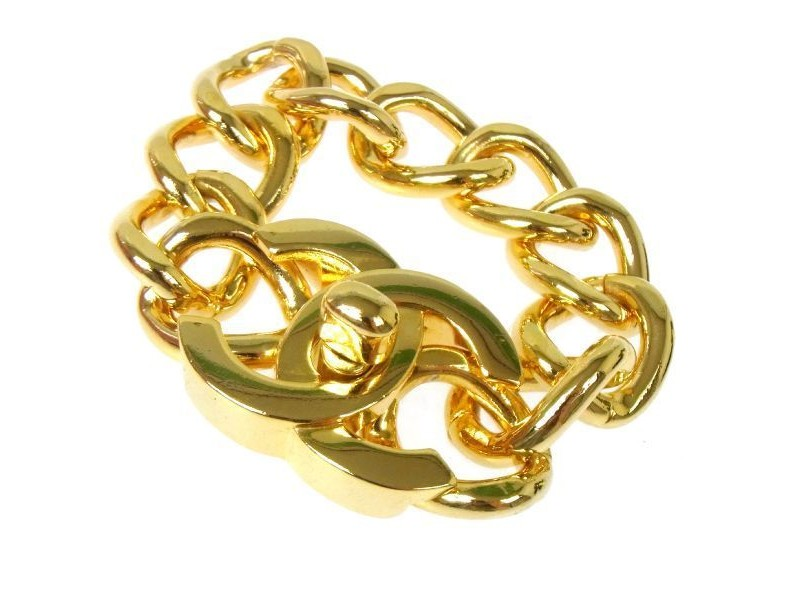 Chanel Gold Tone Hardware Bangle Bracelet
