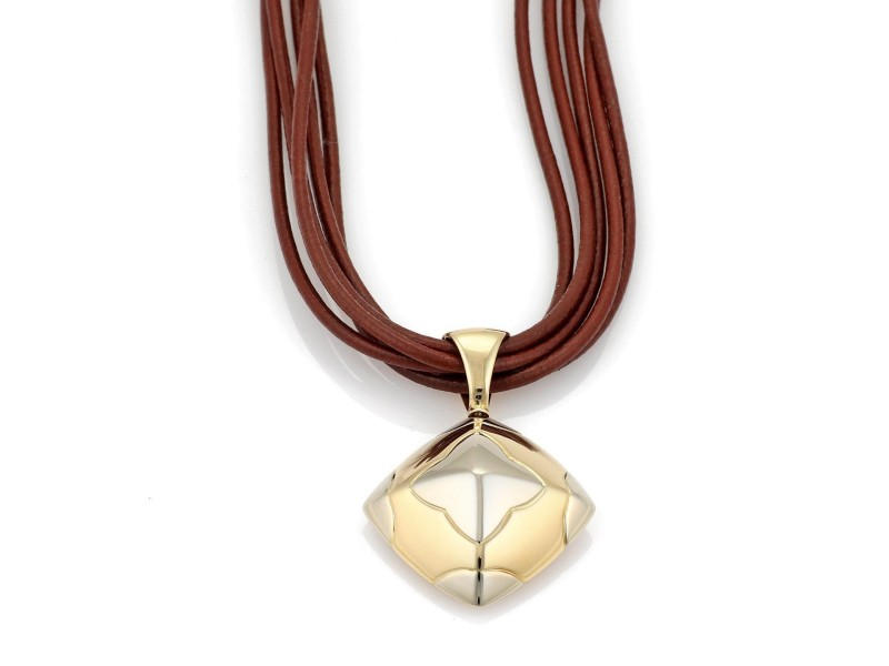Bulgari Pyramide 18K Yellow and White Gold Floral Pendant Leather Multi-Cord Necklace
