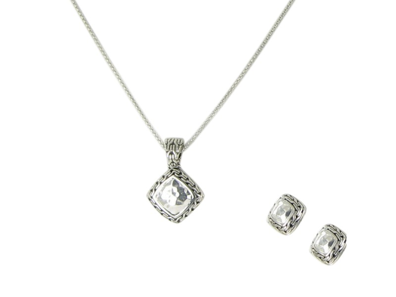 John Hardy Classic Chain 925 Sterling Silver Square Hammered Set Necklace and Earrings Set