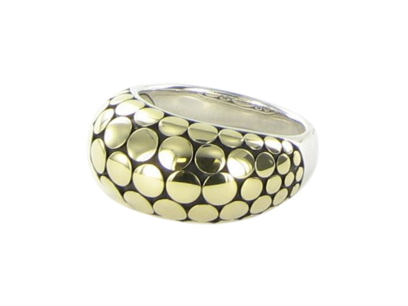 John Hardy Dot 925 Sterling Silver & 18K Yellow Gold Dome Ring Size 7