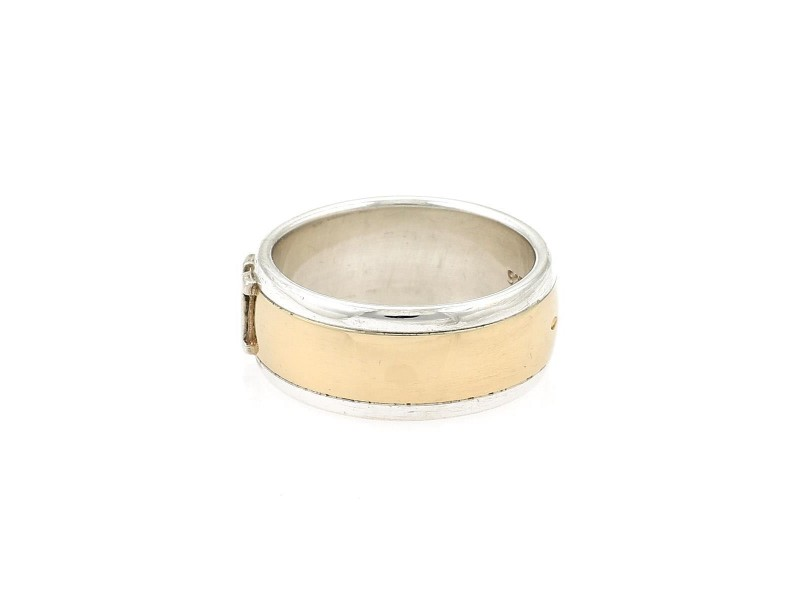 Hermes 18K Yellow Gold, Sterling Silver Ring Size 6.5