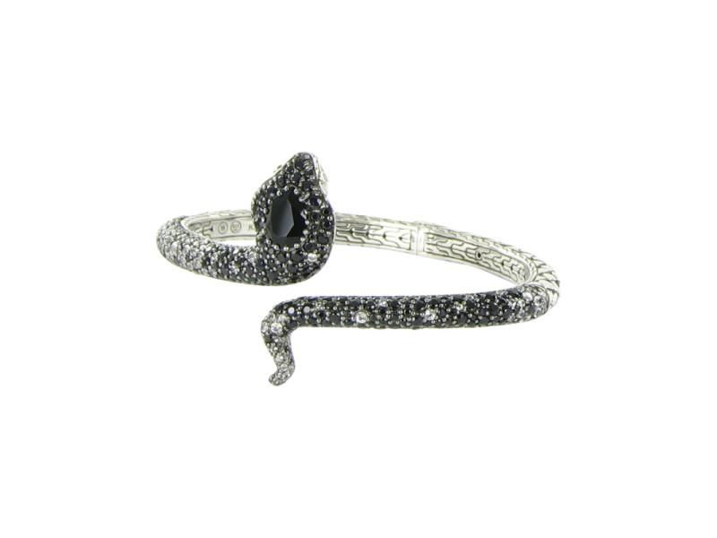 John Hardy Legends Kick Cuff 925 Sterling Silver Chalcedony & 0.03ct Diamond Cobra Bracelet