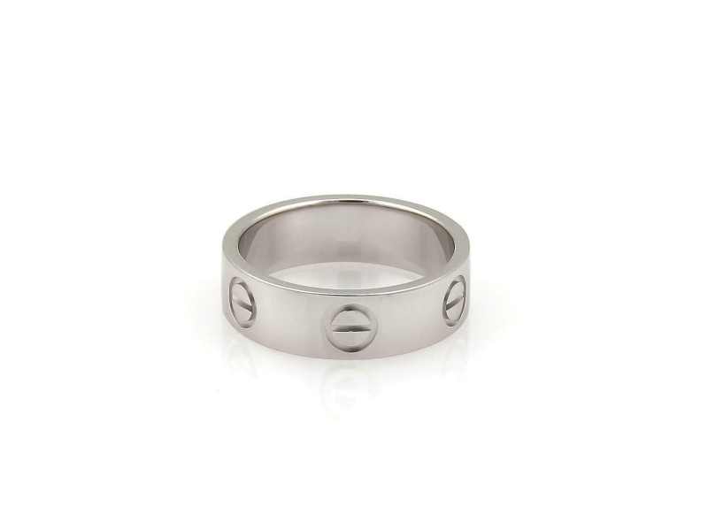 Cartier Love 18k White Gold 5.5mm Band Ring Size 7.25