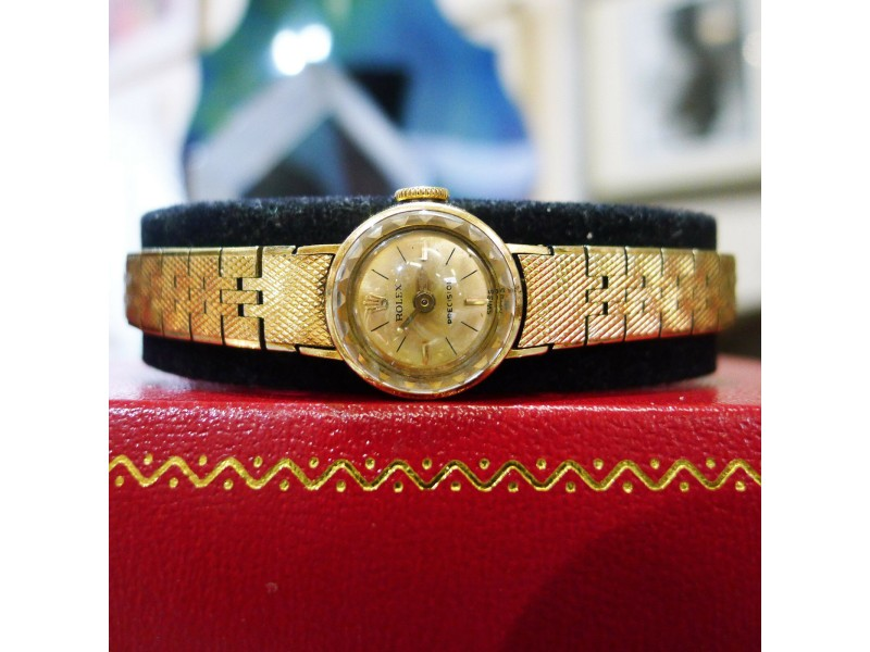 Ladies Vintage Rolex Orchid 18K Yellow Gold Dress Gold Dial Watch Circa 1966
