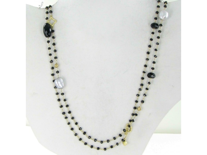 David Yurman Bijoux Bead Necklace Potpourri Onyx Pearl Hematite 18K Yellow Gold