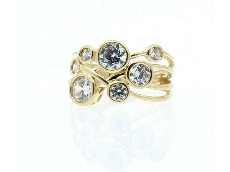 14k Yellow Gold Bubble Style CZ Ladies Ring Size 5.5