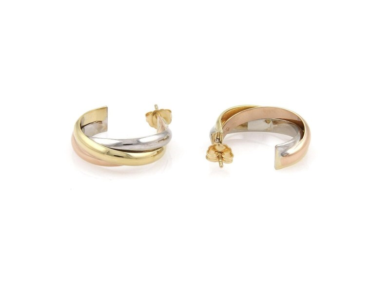 Cartier Trinity 18k Tricolor Gold Mid Size Interlaced Hoop Earrings