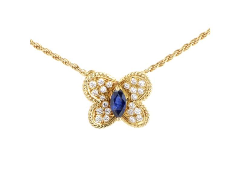 Graff 18K Yellow Gold Diamond & Sapphire Butterfly Pendant Necklace