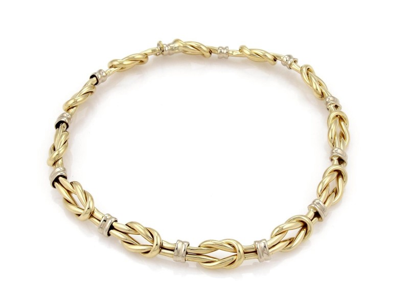 Roberto Coin 18k Two Tone Gold Reef Knot Link Collar Necklace