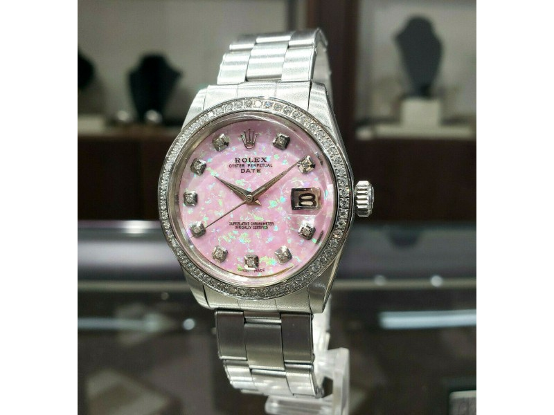 Mens Vintage ROLEX Oyster Perpetual Date 34mm PINK OPAL Dial Diamond Stainless