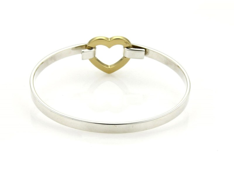 Tiffany & Co. Sterling 18k Yellow Gold Open Heart Hook Bangle Bracelet