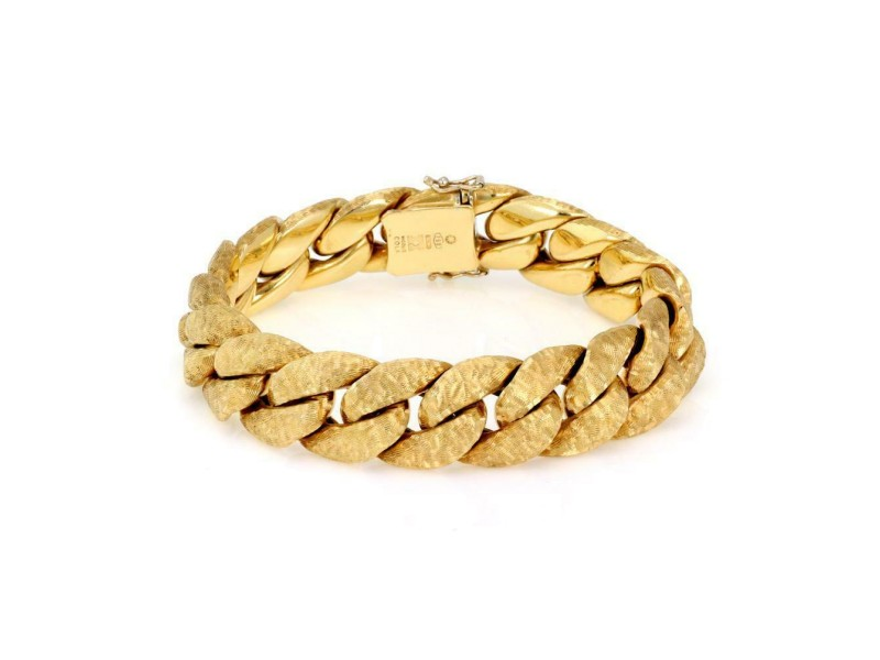 Nicolis Cola 18k Gold Fancy Link Bracelet and Ilias Lalaounis 18k Leaf Brooch