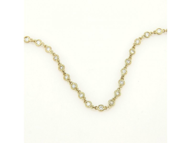 Beautiful 2.28ct Diamond 14k Yellow Gold Diamond By The Yard Necklace