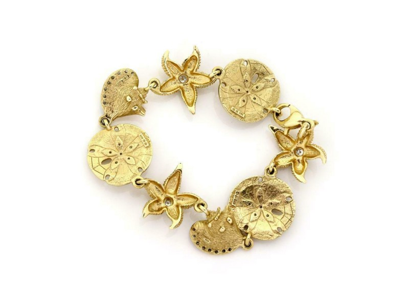 Estate Diamond 14k Two Tone Gold Starfish & Shell Link Bracelet