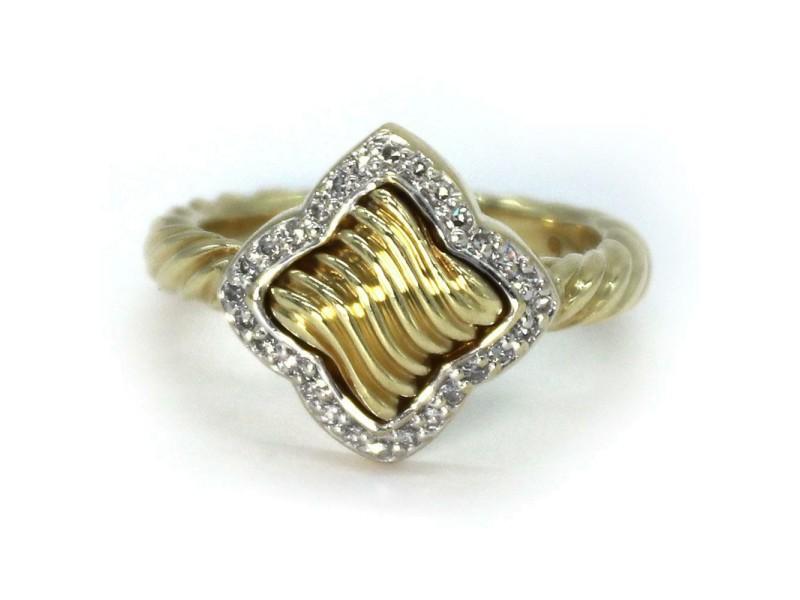 David Yurman Diamond 18k Yellow Gold Quatrefoil Ring Size - 6