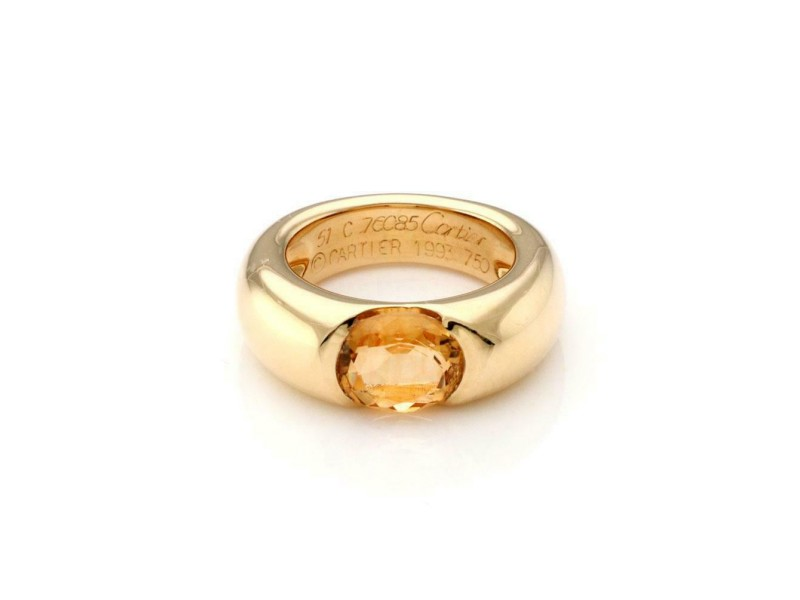 Cartier Ellipse Oval Citrine 18k Yellow Gold Dome Band Ring Size 51-US 5.75