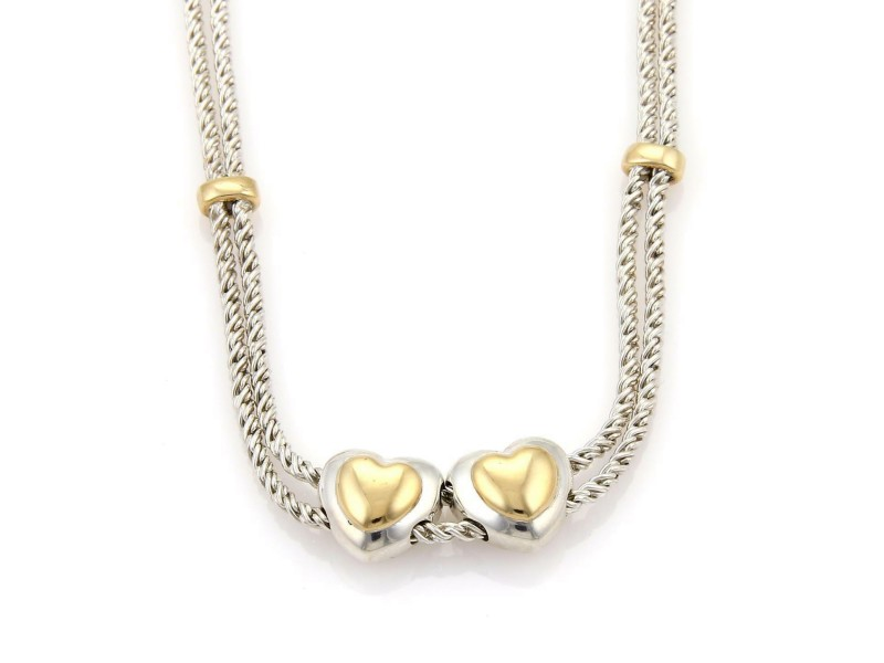 Tiffany & Co. Sterling 18k Yellow Gold Double Slide Hearts Rope Necklace