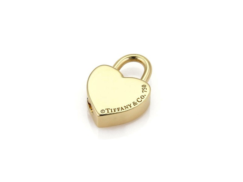 "Tiffany & Co. Vintage ""MUM"" Engraved 18k Yellow Gold Heart Padlock Pendant"