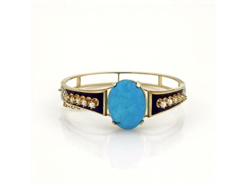 Vintage 14k Yellow Gold Turquoise Pearls & Enamel Bangle Bracelet