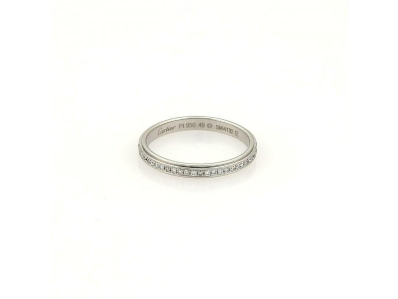 Cartier Diamond Platinum Full Circle Eternity Wedding Band Size EU 49-US 5