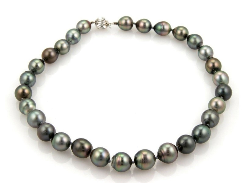 Estate 11mm-13mm Tahitian Baroque Pearl & 14k White Gold Necklace