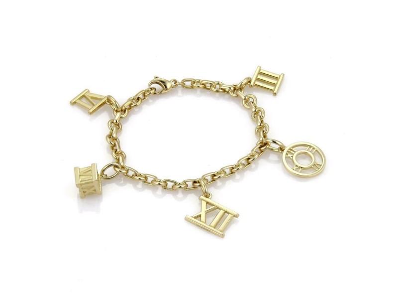 Tiffany & Co. Atlas 18k Yellow Gold 5 Roman Numeral Dangle Charms Bracelet