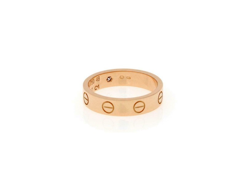 Cartier Mini Love 1 Diamond 18k Pink Gold Band Ring Size EU 48-US 4.5 Cert