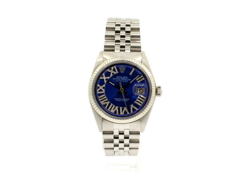 Mens ROLEX Oyster Perpetual Date 36mm Blue Roman Dial Diamond Stainless Watch