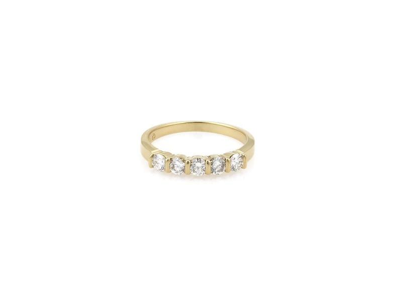 Tiffany & Co. 5 Diamond 18k Yellow Gold Stack Band Ring Size - 5.25