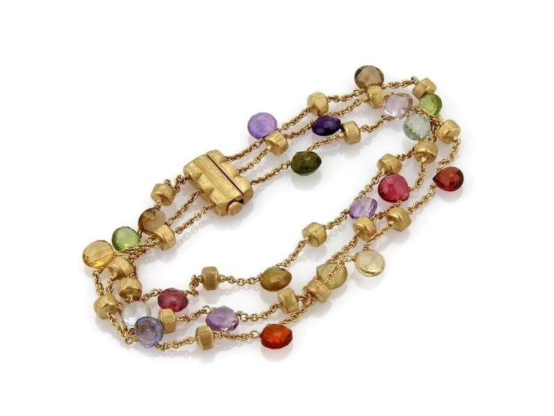 Marco Bicego PARADISE Multicolor Gems 18k Yellow Gold Triple Strand Bracelet