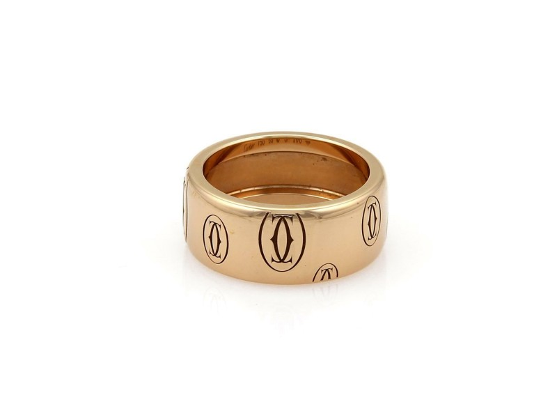 Cartier Happy Birthday Logo 18k Rose Gold 8mm Band Ring Size 50 - US 5